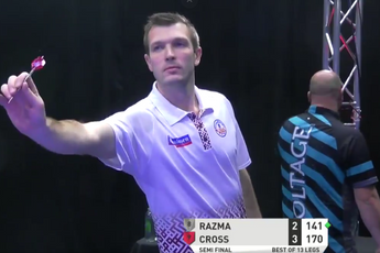 VIDEO: Razma produces brilliant juggling act during nine-dart finish against Cross at Players Championship 26