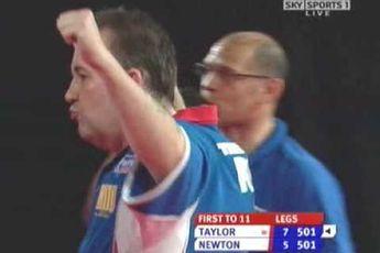 Vandaag 14 jaar geleden: Taylor gooit negendarter op UK Open tegen Newton
