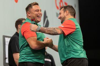 Speelschema zondagavond World Cup of Darts met Wales tegen Schotland in halve finales