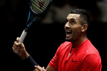 Nick Kyrgios shows respect to Kevin Anderson following their Atlanta Open match