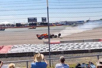 Zo zagen mensen op de tribune de crash van Max Verstappen