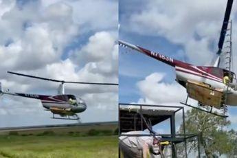 Helikopterpiloot laat zien dat het niet zijn eerste werkdag is