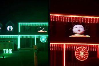 Halloween verlichting in teken van Squid Game spelletje Green Light Red Light