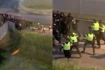 Voetbalsupporters maken het de politie wel heel erg moeilijk