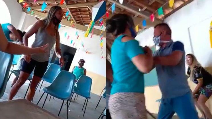 Braziliaan gaat met minnares prik halen en komt zijn vrouw en haar zus tegen...