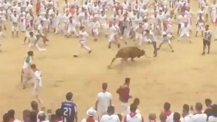 Man doet front flip over aanvallende stier in Pamplona