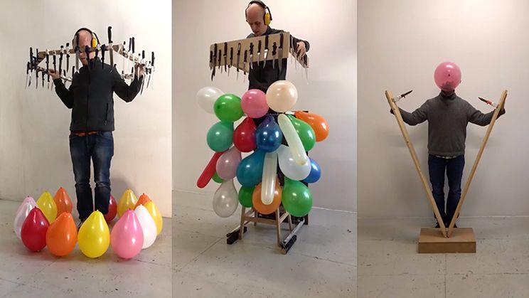 Man is heel erg goed in het kapotmaken van ballonnen