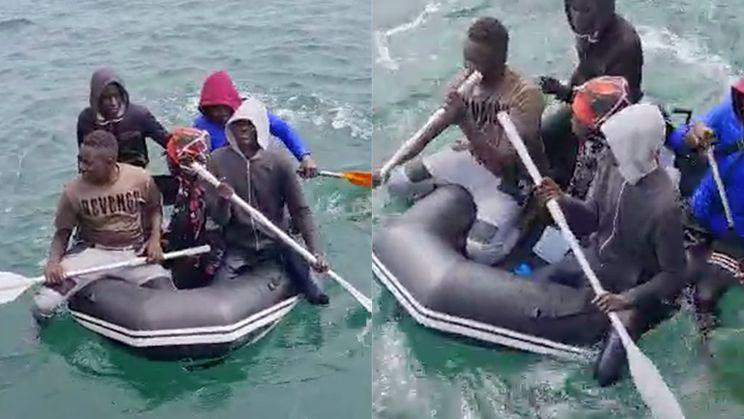 Urkse vissers treffen vluchtelingen in rubberbootje aan in de Noordzee