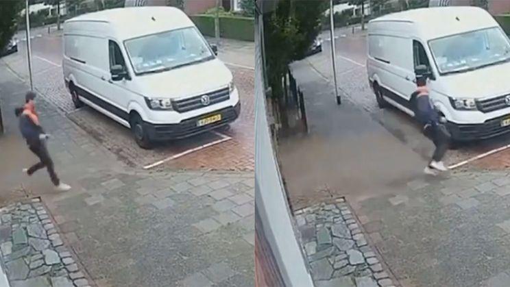 Bezorger in Den Haag moet op de vlucht voor hond