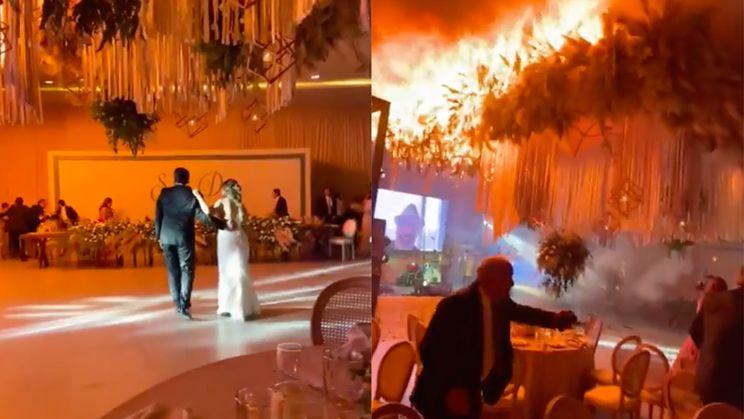 Vuurwerk zet bruiloftsfeest echt in vuur en vlam