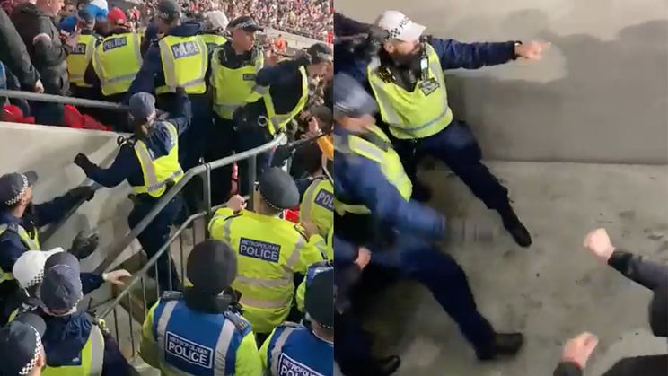 Engelse agenten leggen het op tribune af tegen Hongaarse hooligans
