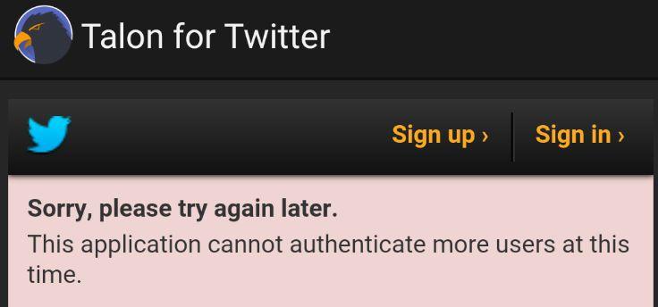 Talon for Twitter (Classic) bereikt token-limiet, verwijderd uit Play Store