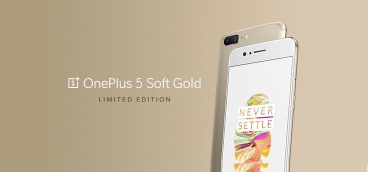 De OnePlus 5 is tijdelijk in de kleur Soft Gold verkrijgbaar